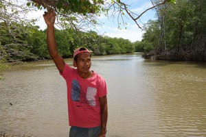 Schoolteacher Jorge Lopez, shown on the banks of the Brito River, opposes the Nicaragua canal project (photo credit: Chris Kraul).