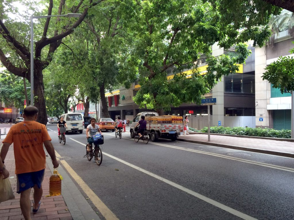 The painted bicycle lanes in Guangzhou Old Town are shaded, comfortable and well used. (Image by Charlie Palmer)